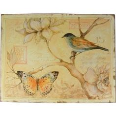 Amazon.com: Soft Pinks Tin Plaque with Bird and Flower Image: Furniture & Decor