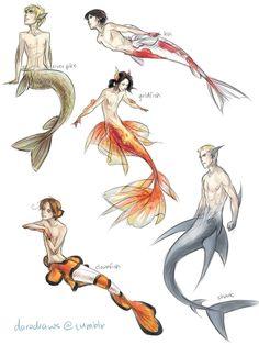 插畫家D'oro還將美人魚化成了美男魚