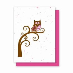 "Argyle Owl - 4 Pack  Availability: Usually Ships in 3-5 business days  Whooo do you give a hoot about?  Let them know with our Argyle Owl card printed on Speckled Pink Grow a Note paper!  Each card is embedded with a colorful array of Wildflower seeds. Our Cards are Eco-friendly:  100% Recycled Ingredients No Chemicals No Dyes No Additives  Card Size: 4.5"" x 6""  Quantity: Pack of 4 Argyle Owl Cards  Cards also includes color coordinating envelopes"