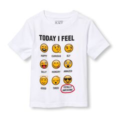Toddler Boys Short Sleeve 'Today I Feel Totally Awesome' Emojis Chart Graphic Tee