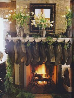 Dark stockings and neutral/rustic for Christmas  via Kitchens I Have Loved