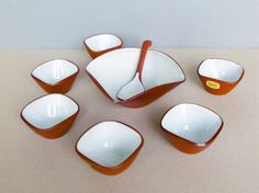 Dutch Vintage Mid Century Studio Pottery Jaap Ravelli Complete Snack Bowl Set with A Spoon No. 205 by PineBook on Etsy