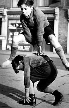 Dangerous!!! Youngsters playing on a London street in the 1960s
