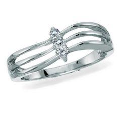 10K White Gold, Diamond Fashion Ring