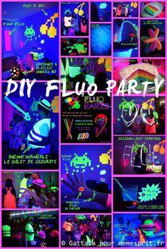 Soirée d'anniversaire fluo party diy tuto                                                                                                                                                                                 Plus