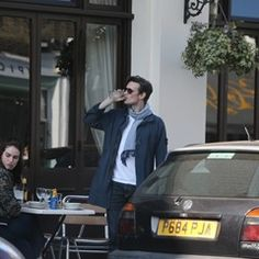 Matt Smith and Lily James dine outside with friends in north London