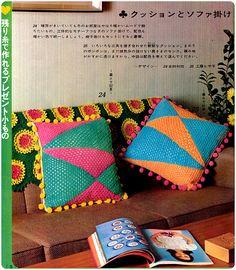crocheted cushions by megipupu, via Flickr