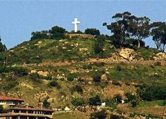from below, a site of the huge cross at Mt. Helix..La Mesa, CA