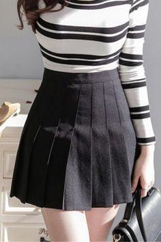 Peppy Style High Waist Plain Mini A-Line Pleated Skirt b3fec0b02