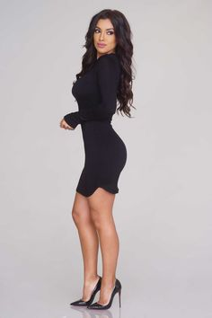 Long-Sleeved Bodycon Dress - Black - Casual - Dresses - Clothing