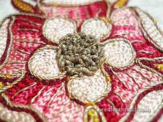 ~ Goldwork & Silk Tambour Embroidery on Vestment Tambour Beading, Tambour Embroidery, Ribbon Embroidery, Beaded Embroidery, Cross Stitch Embroidery, Fabric Art, Fabric Crafts, Sewing Crafts, Embroidered Roses