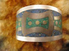 Cuff Bracelet  Sterling Silver  Metales Taxco by Worldwideoddities, $85.00