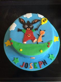 """""""Bing and Flop cake Toddler Birthday Cakes, Boys 1st Birthday Cake, Bing Cake, Bing Bunny, Rabbit Cake, Character Cakes, Novelty Cakes, Occasion Cakes, Celebration Cakes"""
