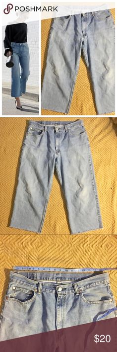 """Levi's 550 Cropped (wide leg high waist) This is a men's but selling as a woman. Fits about a 12/14. The denim has been cut so the jeans are about 2"""" above ankle bone for someone 5'3"""" they fit as high waisted and fits more like a wide leg cropped Denim. First photo is style inspiration only. The jeans fit similar to the photograph. 36"""" in men's size about a 35"""" measurement (posted in last photos). Bundle for discount, open to negotiations. Levi's Jeans Flare & Wide Leg"""