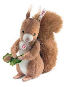 """Steiff Est. 1880 Kecki the Squirrel plush. 'His soft fur is alpaca and his bushy tail and arms move to the German folksong """"A Little Man is Standing in the Woods.""""' $199.99"""