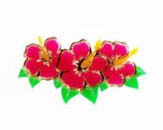 hibiscus floral brooch