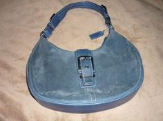 Coach Blue Suede and Leather Saddle Style New Handbag
