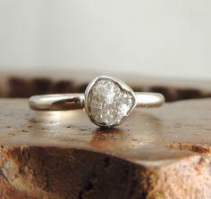 Rough Diamond 14k White Gold, Uncut Diamond Engagement Ring, White Gold Rough Dimaond Ring ,Conflict Free Diamond, Raw Diamond