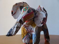 I am very fond of this elephant, it is made entirely of newspapers and glossy magazine paper.