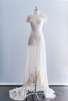 NEW LISTING 1930s Ruffled Chiffon Bias Cut Trained Wedding Gown
