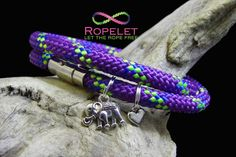 Double wrap purple neon and blue  Ropelet with optional elephant and heart charms. Handmade rope bracelets made just for you at www.ropelet.co.uk #handmadebracelets #bracelets #bracelet #ropelet #ropebracelet #charmbracelet