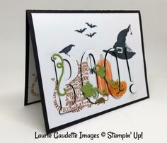Halloween card with raised die cut letters Halloween School Treats, Up Halloween, Halloween Projects, Halloween Cards, Halloween Letters, Penny Black, Mini Albums, Stampin Up, Thanksgiving Cards
