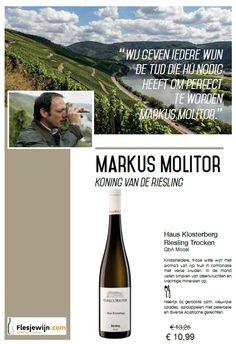Markus Molitor Haus Klosterberg Riesling Trocken nu in de aanbieiding tm 31-03-16. http://www.flesjewijn.com/wijnen/haus+klosterberg+riesling+trocken+7875