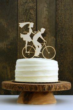 Rustic Bike Wedding Cake Topper with Bride by Silhouetteweddings