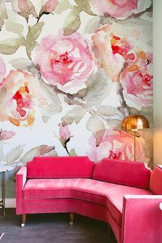 Home wallpaper pattern wall murals 56 Ideas Floral Pattern Wallpaper, Flower Wallpaper, Large Floral Wallpaper, Do It Yourself Design, 3d Rose, Home Wallpaper, Pink Wallpaper For Walls, Modern Wallpaper, Wall Treatments