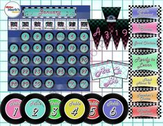 Retro 50s Classroom Theme from Mister Mark's Market on TeachersNotebook.com -  (83 pages)  - Flashback to the '50s with these dazzling decorations. Inspired by '50s diner decor with neon-, checkerboard-, and juke-box-inspired trimmings!