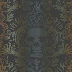 Orange, Green, and Black Skull Damask Wallpaper
