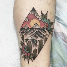 Geometric Diamond w/ Mountain Scene inside and Flowers outside American Traditional Tattoo Style Colored Tattoo  - Chris Benson