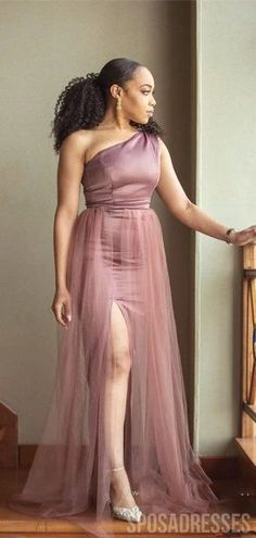 One Shoulder Dusty Pink Slit Long Bridesmaid Dresses Online, WG790 #bridesmaid #bridesmaid #weddings #bridesmaiddresses #weddingplan #weddingidea #longbridesmaiddresses #bridesmaidsdresses