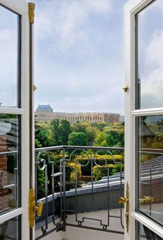The view of the Château de Versailles from the Trianon Palace Versailles, a Waldorf Astoria Hotel.