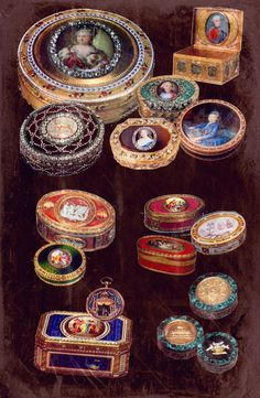 Image:: Snuffboxes of the 18th century, the Romanovs collection || Russian fashion for snuffboxes started with Catherine II, though snuffboxes were also popular at the court of her ancestor Elizabeth I. At the age of 25 future Catherine II addicted to snuff. Being a very prudent woman she always took the snuff by her left hand as she gave her right hand for court kisses and did not want people smell tobacco.
