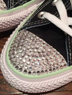 Women's Low Top Converse Blinged Shoes. Converse Rhinestone Bling with Dots