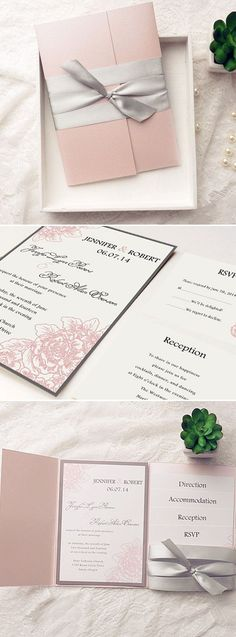 Gray and blush pink elegant pocket wedding invitations.