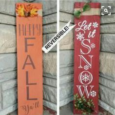 Holiday Porch Sign Fall/Winter Reversible, Holiday Sign, Hand Painted Sign… - Home Decor Diy Cheap Holiday Signs, Christmas Signs, Christmas Crafts, Christmas Decorations, Xmas, Fall Decorations Diy, Dyi Fall Decor, Fall House Decor, Fal Decor