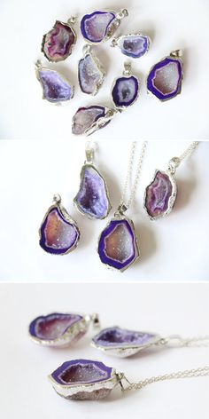 Purple geode necklace Raw crystal necklace Raw by VermeerJewellery