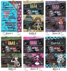 monster high birthday party ideas | Print ~ Monster High Birthday Invitations & Party Supplies available ...