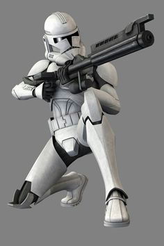 Phase 2 clone trooper wielding a DC-15 blastech rifle.