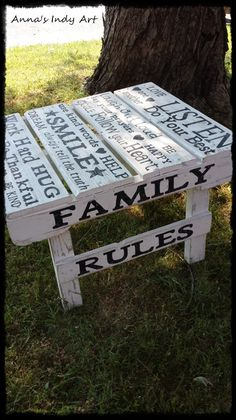 Family Rules pallet table Cute for the back yard Scrap Wood Projects, Diy Projects To Try, Pallet Projects, Pallet Ideas, Recycled Furniture, Pallet Furniture, Kids Furniture, Painted Furniture, Outdoor Furniture