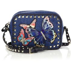 Valentino Rockstud Embroidered Butterfly Denim Camera Bag (46 770 UAH) ❤ liked on Polyvore featuring bags, handbags, shoulder bags, apparel & accessories, studded handbags, blue handbags, studded shoulder bag, valentino handbags and denim shoulder bag