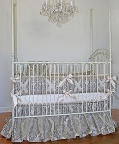 Little Bunny Blue Legacy Crib Bedding at Luxury Baby Nursery: Silver is hot, hot, hot right now.  This set is simply perfect for the elegant tot who wants to avoid traditional pinks and blues.