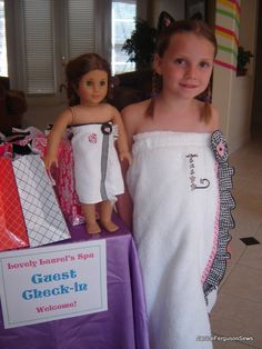 Party Planning: American Girl Spa Party for Girl's Birthday! American Girl Birthday, American Girl Parties, American Girl Diy, American Girl Clothes, Girl Doll Clothes, Sewing Clothes, Ag Dolls, Girl Dolls, Girl Spa Party