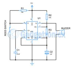 Quiz buzzer electronic circuit using ic 74ls373a great hobby this burglar alarm or theft alarm is built using timer ic 555 and very simple circuit ccuart Image collections