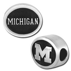 13mm University of Michigan - Sterling Silver Large Hole Bead -Show support for your team!