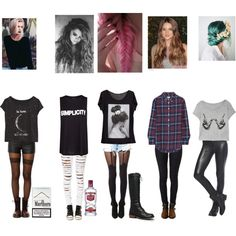 outfit ideas grunge - Google Search i really only like the middle and plaid outfit