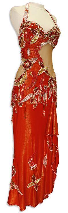 Crimson Red Dress Belly Dance Costume - At DancingRahana.com