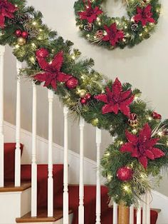 Best 11 It's time to deck the halls, the entryway – even the banister – with a design worthy of celebrating. This festive red and gold garland is just the ticket. Each hand-decorated garland is in length and glows with 90 plug-in, warm-white LED lig Rose Gold Christmas Decorations, Christmas Swags, Christmas Centerpieces, Xmas Decorations, Christmas Home, Outdoor Christmas, Holiday Decor, Christmas Interiors, Decoration Table